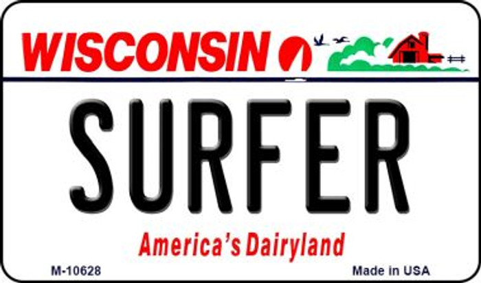 Surfer Wisconsin State License Plate Novelty Magnet M-10628