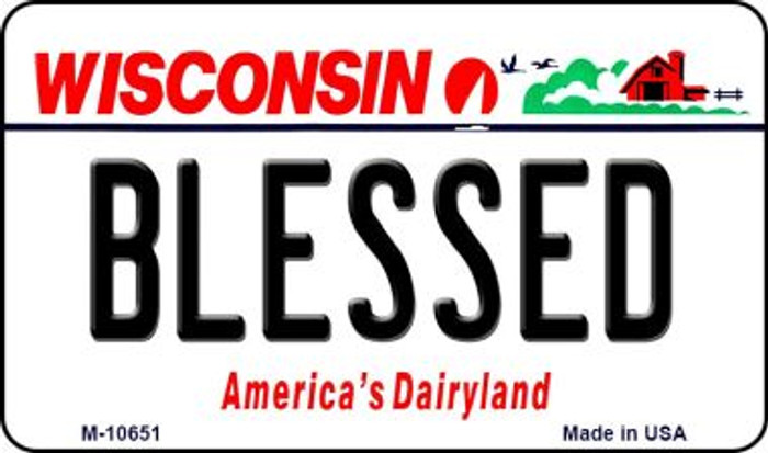 Blessed Wisconsin State License Plate Novelty Magnet M-10651