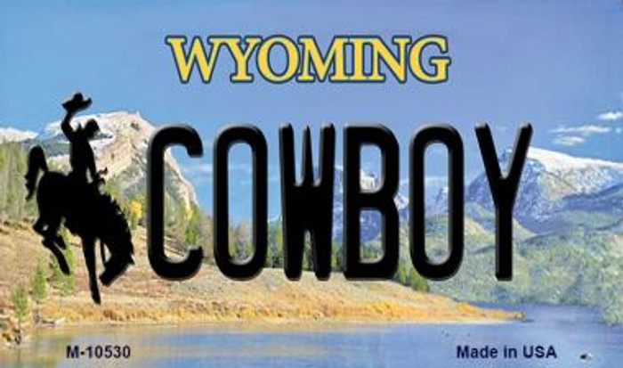 Cowboy Wyoming State License Plate Magnet M-10530