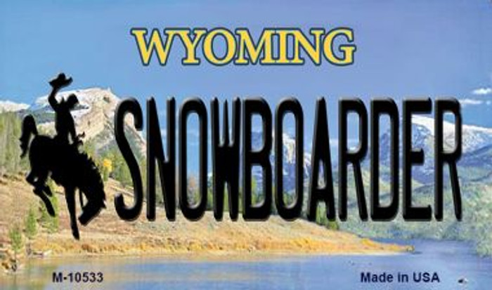Snowboarder Wyoming State License Plate Magnet M-10533