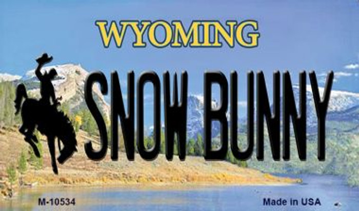 Snow Bunny Wyoming State License Plate Magnet M-10534