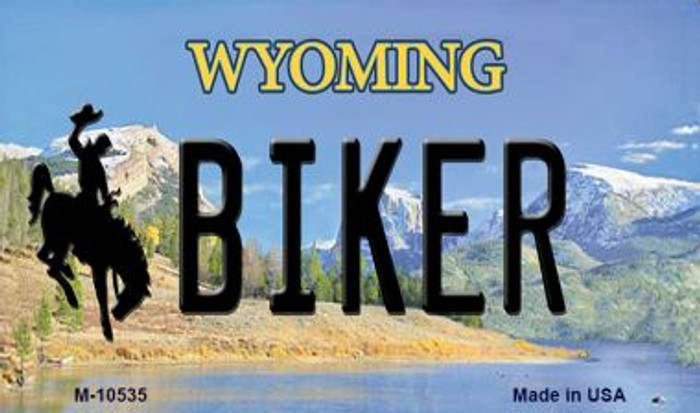 Biker Wyoming State License Plate Magnet M-10535