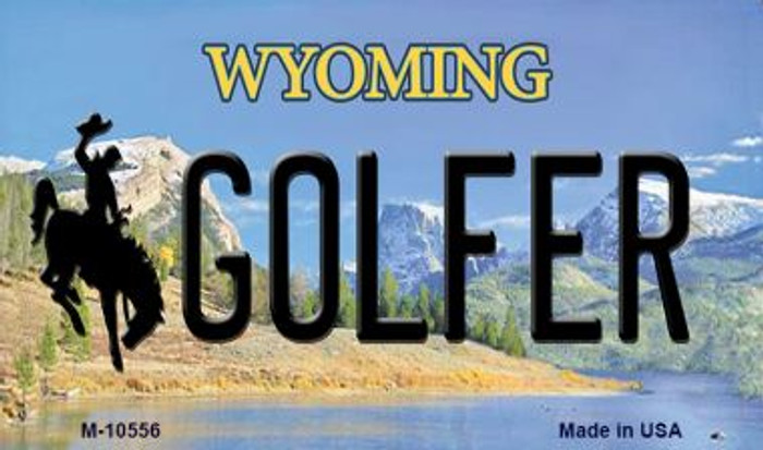 Golfer Wyoming State License Plate Magnet M-10556