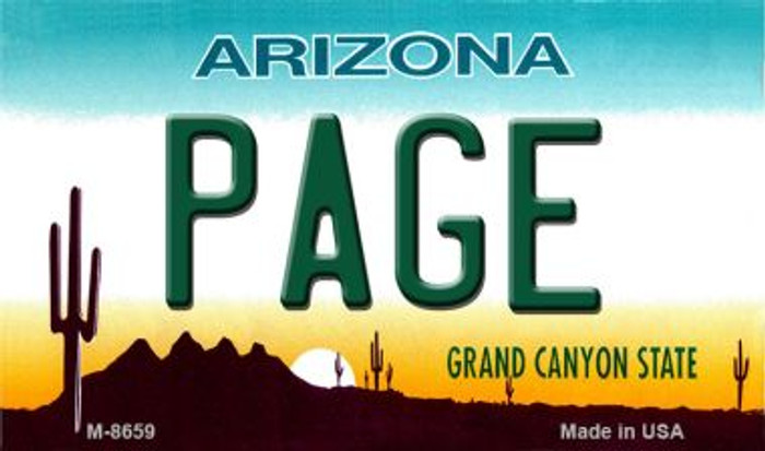Page Arizona State License Plate Magnet M-8659
