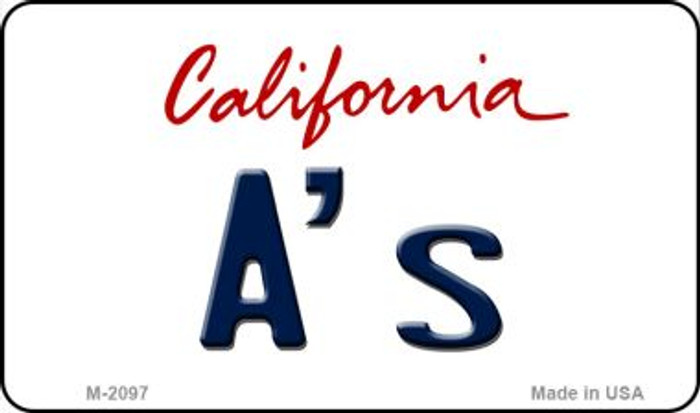 A's California State License Plate Magnet M-2097