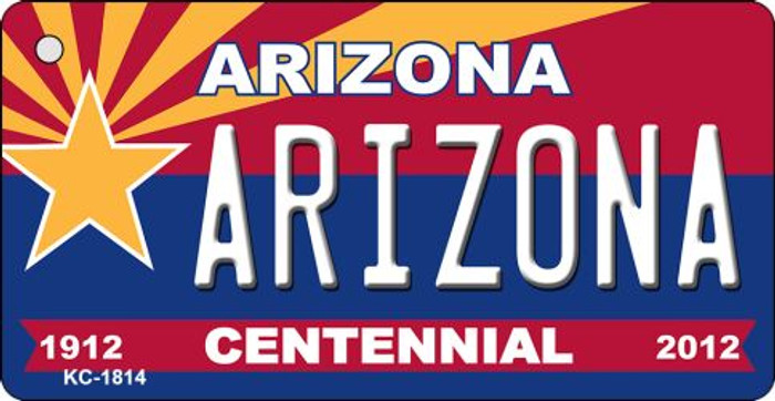 Arizona Centennial State License Plate Key Chain KC-1814