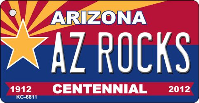 AZ Rocks Arizona Centennial State License Plate Key Chain KC-6811