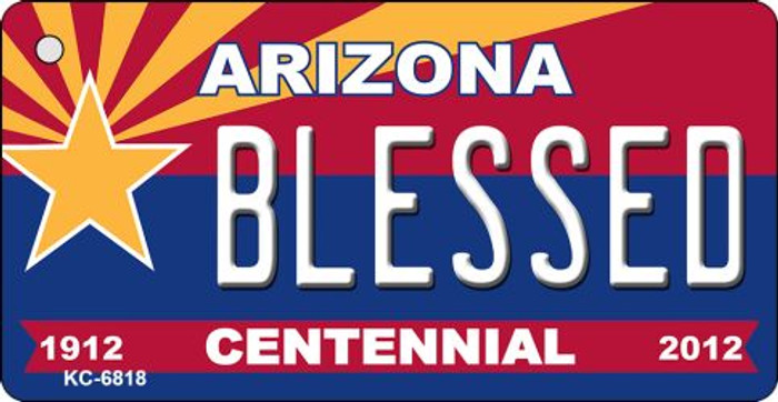 Blessed Arizona Centennial State License Plate Key Chain KC-6818