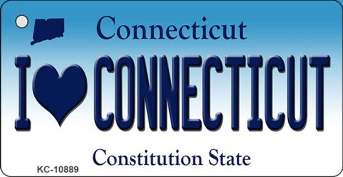 I Love Connecticut State License Plate Key Chain KC-10889