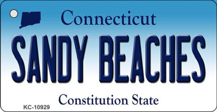 Sandy Beaches Connecticut State License Plate Key Chain KC-10929