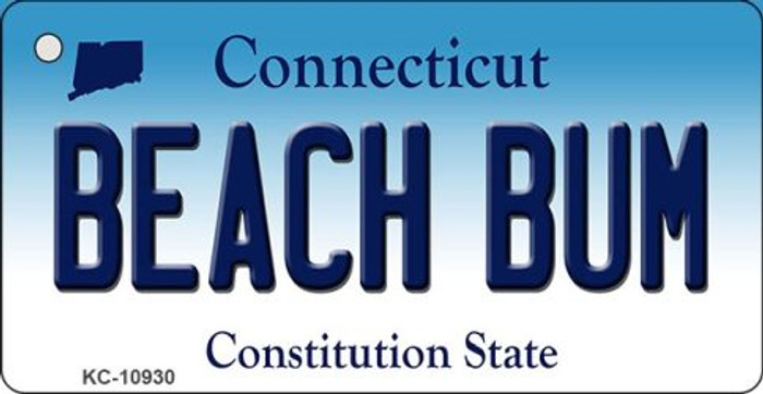 Beach Bum Connecticut State License Plate Key Chain KC-10930