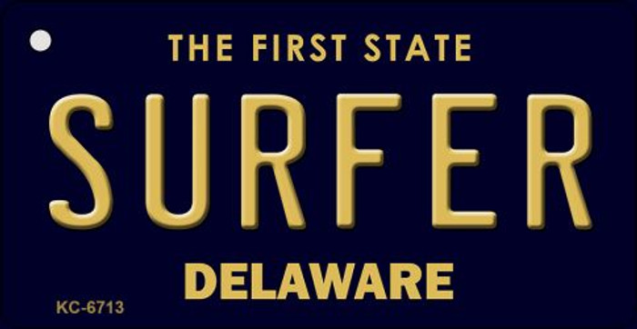 Surfer Delaware State License Plate Key Chain KC-6713