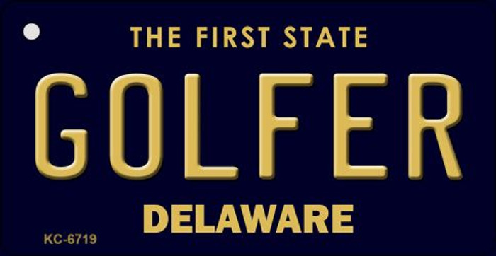 Golfer Delaware State License Plate Key Chain KC-6719