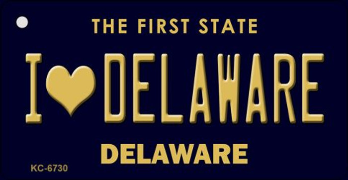 I Love Delaware State License Plate Key Chain KC-6730
