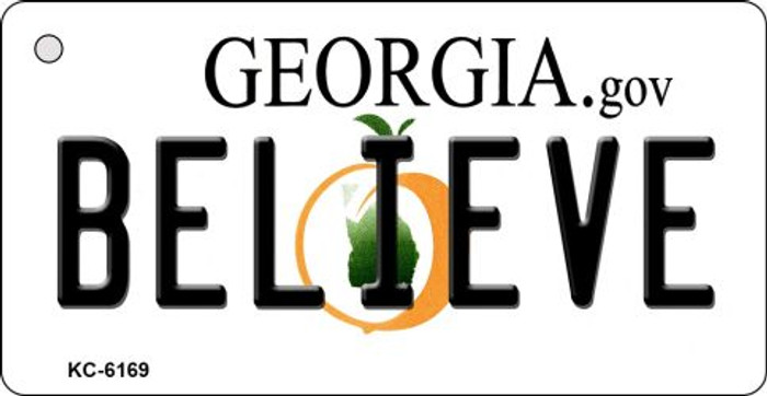 Believe Georgia State License Plate Novelty Key Chain KC-6169