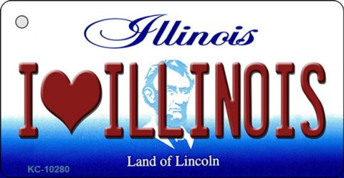I Love Illinois State License Plate Key Chain KC-10280