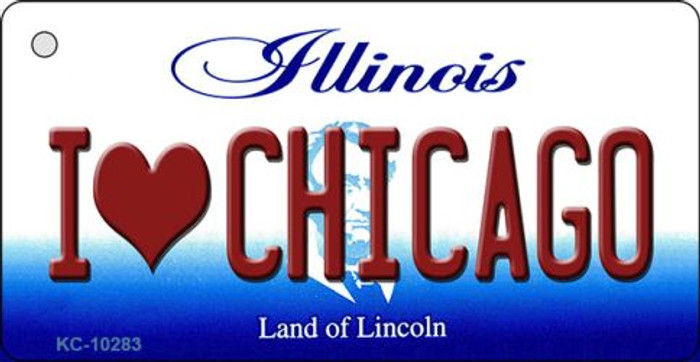 I Love Chicago Illinois State License Plate Key Chain KC-10283
