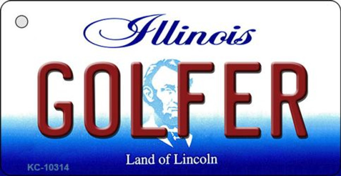 Golfer Illinois State License Plate Key Chain KC-10314