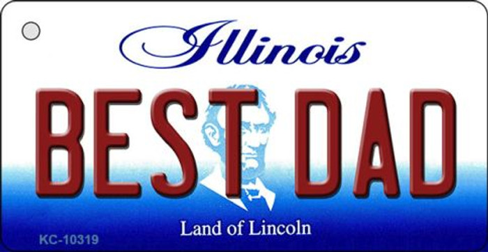 Best Dad Illinois State License Plate Key Chain KC-10319