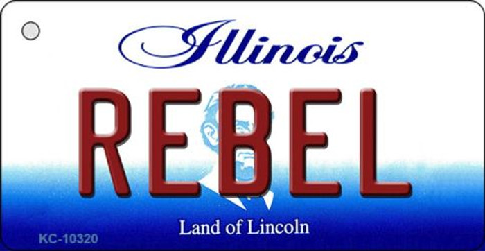 Rebel Illinois State License Plate Key Chain KC-10320