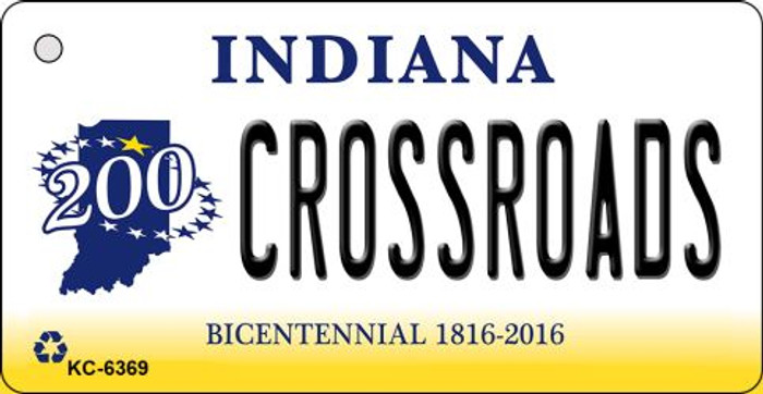 Crossroads Indiana State License Plate Novelty Key Chain KC-6369