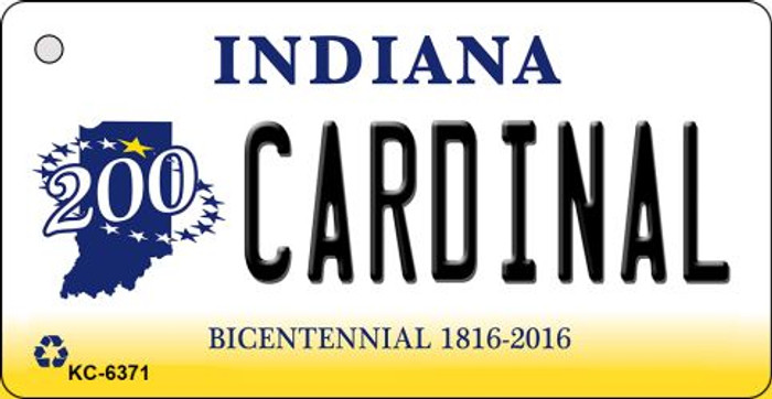 Cardinal Indiana State License Plate Novelty Key Chain KC-6371