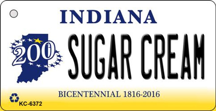 Sugar Cream Indiana State License Plate Novelty Key Chain KC-6372