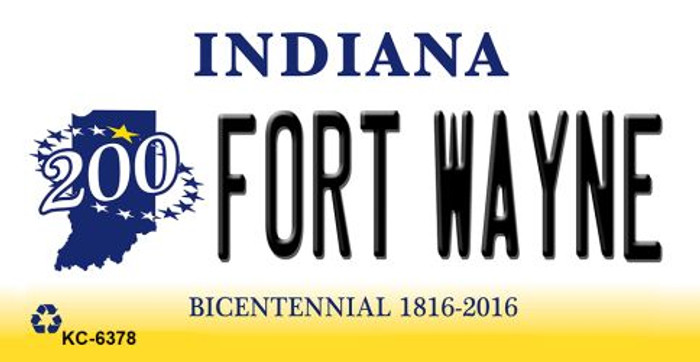Fort Wayne Indiana State License Plate Novelty Key Chain KC-6378