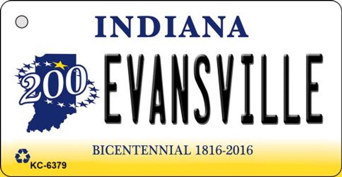Evansville Indiana State License Plate Novelty Key Chain KC-6379
