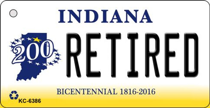 Retired Indiana State License Plate Novelty Key Chain KC-6386
