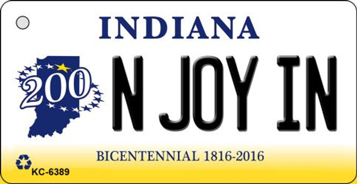 N Joy IN Indiana State License Plate Novelty Key Chain KC-6389