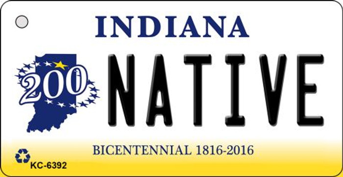 Native Indiana State License Plate Novelty Key Chain KC-6392