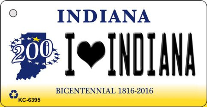 I Love Indiana State License Plate Novelty Key Chain KC-6395