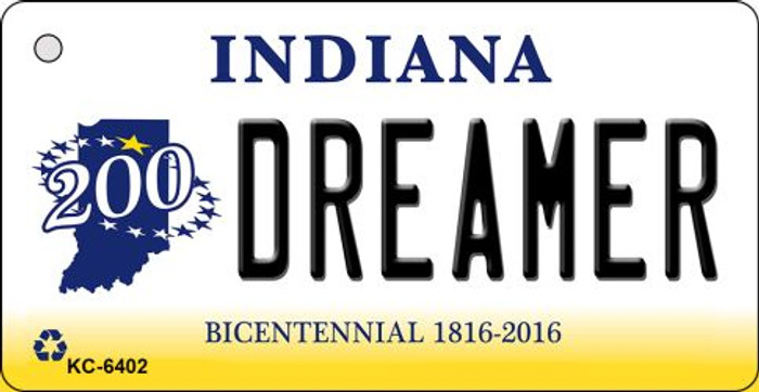 Dreamer Indiana State License Plate Novelty Key Chain KC-6402