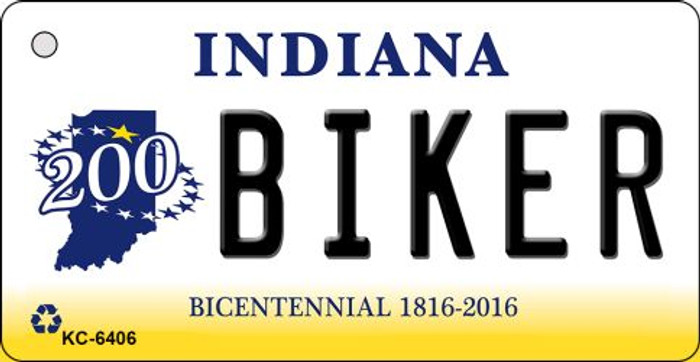 Biker Indiana State License Plate Novelty Key Chain KC-6406