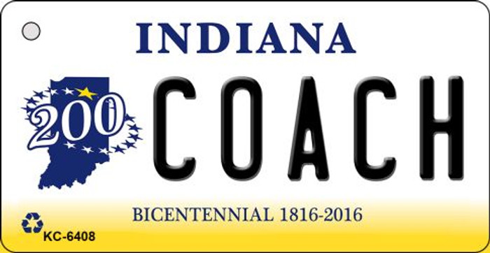 Coach Indiana State License Plate Novelty Key Chain KC-6408
