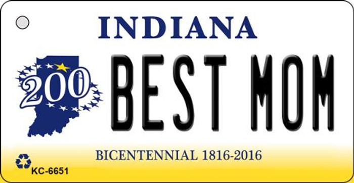 Best Mom Indiana State License Plate Novelty Key Chain KC-6651