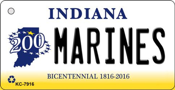 Marines Indiana State License Plate Novelty Key Chain KC-7916