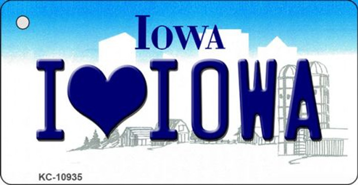 I Love Iowa State License Plate Novelty Key Chain KC-10935
