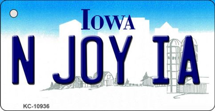 N Joy IA Iowa State License Plate Novelty Key Chain KC-10936
