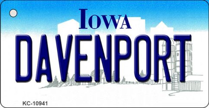 Davenport Iowa State License Plate Novelty Key Chain KC-10941
