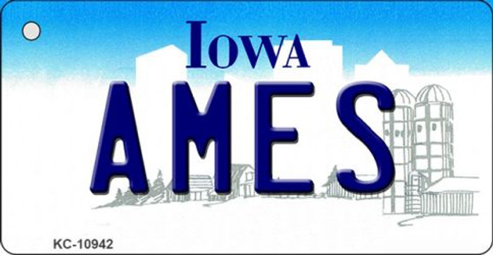 Ames Iowa State License Plate Novelty Key Chain KC-10942