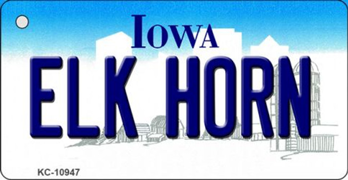Elk Horn Iowa State License Plate Novelty Key Chain KC-10947