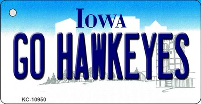 Go Hawkeyes Iowa State License Plate Novelty Key Chain KC-10950