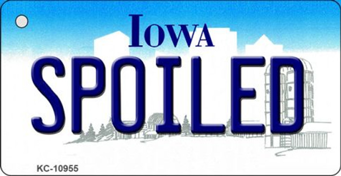 Spoiled Iowa State License Plate Novelty Key Chain KC-10955