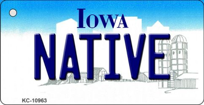 Native Iowa State License Plate Novelty Key Chain KC-10963