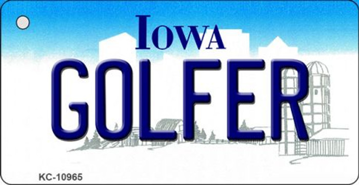 Golfer Iowa State License Plate Novelty Key Chain KC-10965
