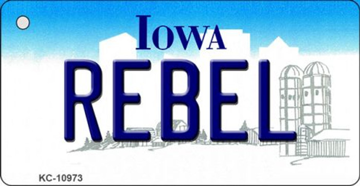 Rebel Iowa State License Plate Novelty Key Chain KC-10973