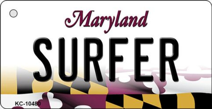 Surfer Maryland State License Plate Key Chain KC-10480