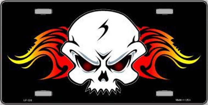 Skull Flame Metal Novelty License Plate LP-328